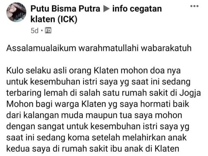 Kisah seorang pria kehilangan istri usai melahirkan, Klaten, Rabu (12/8/2020).