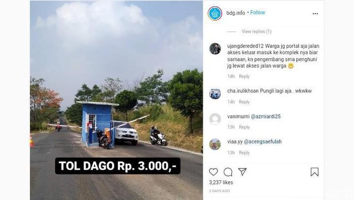 Ramai di medsos portal berbayar di kawasan Dago Bandung