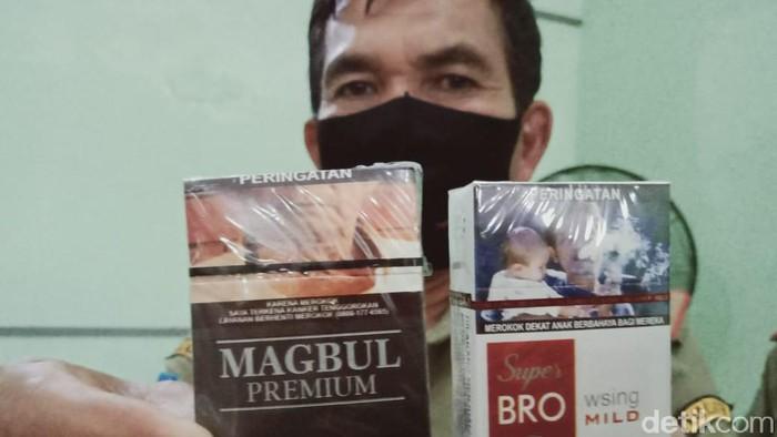 Rokok ilegal bermerek lucu yang disita di area Klaten