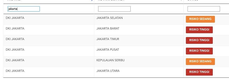Status DKI Jakarta berdasarkan situs COVID-19