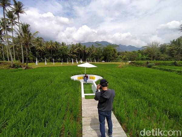 Selain bisa selfie dengan latar belakang Candi Borobudur, kemudian pengunjung bisa melihat keindahan pegunungan Menoreh yang ada.