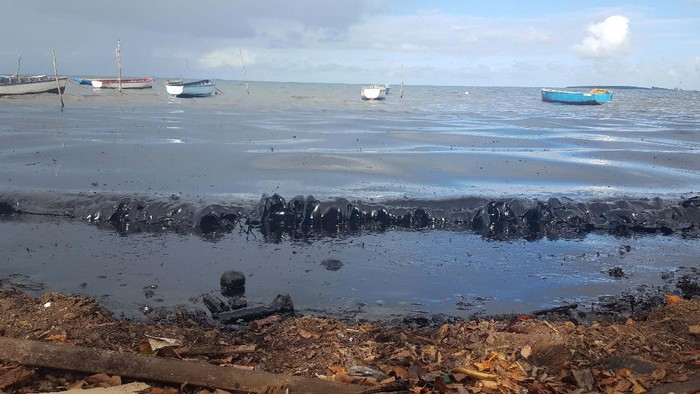 This photo provided by the Mauritian Wildlife Foundation Ministry shows oil leaking from the MV Wakashio, a bulk carrier ship that recently ran aground off the southeast coast of Mauritius, Monday Aug. 10, 2020. The Indian Ocean island of Mauritius has declared a