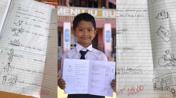 Siswa kelas 1 SD yang menulis dan menggambar materi sekolahnya sendiri karena tidak memiliki printer.