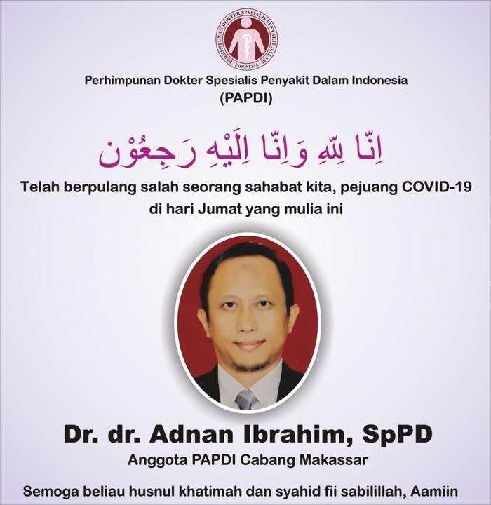 Dr dr Adnan Ibrahim meninggal dunia karena terinfeksi COVID-19
