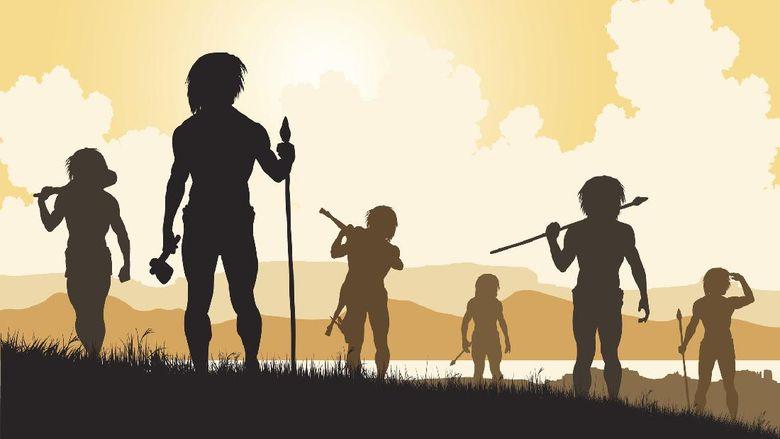 Editable vector silhouettes of cavemen hunters on patrol