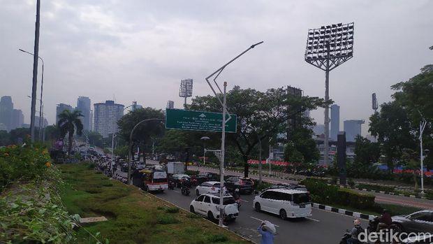 Lalin di Jalan Gatot Subroto saat sidang tahunan MPR-DPR-DPD digelar