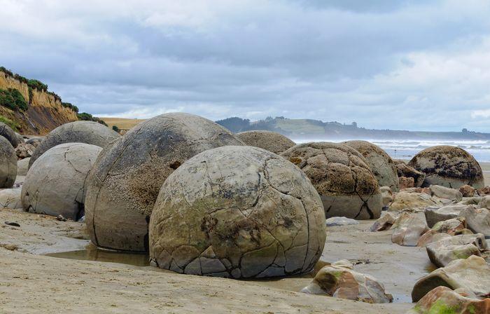 Round Moeraki Boulders at sunset, Koekohe beach, Otago, South Island, New Zealand.