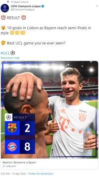 Barcelona harus keluar dengan kepala tertunduk usai babak belur dihajar Bayern Munich dalam laga perempat final Liga Champions tadi malam.