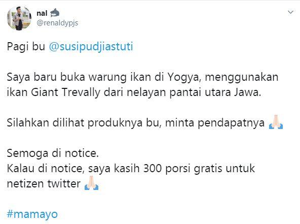 Tweetnya Direspons Susi Pudjiastuti, Pemilik Warung Ini Beri 300 Menu Gratis untuk Netizen