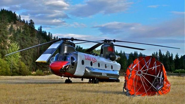 Helikopter Chinook CH-47D milik perusahaan Billings Flying Service