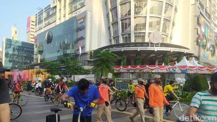 Suasana kawasan Sudirman-Thamrin saar CFD ditiadakan