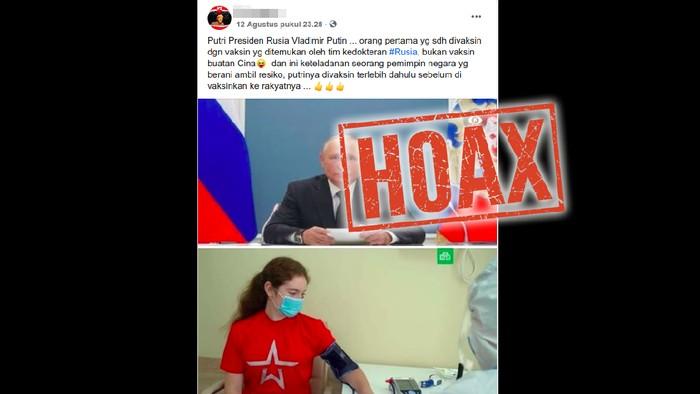Hoax putri Vladimir Putin saat disuntik vaksin Corona.