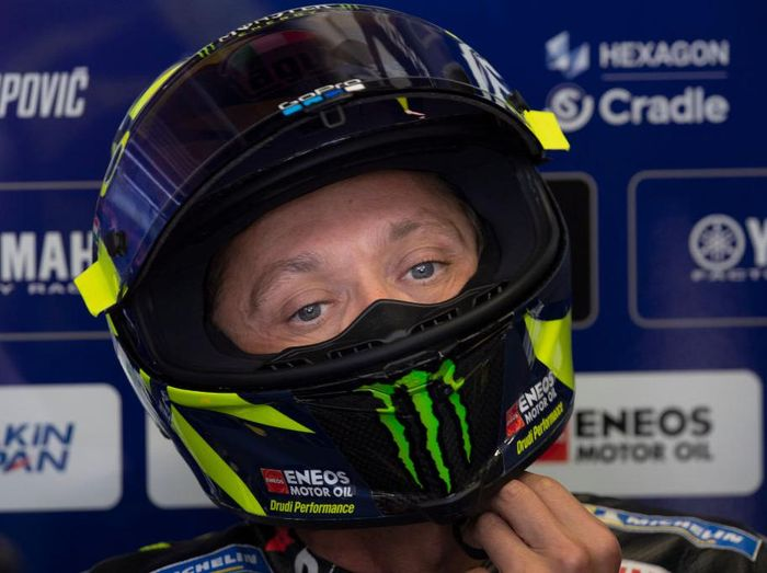 SPIELBERG, AUSTRIA - AUGUST 15: Valentino Rossi of Italy and Monster Energy Yamaha MotoGP Team looks on in box during the MotoGP Of Austria - Qualifying at Red Bull Ring on August 15, 2020 in Spielberg, Austria. (Photo by Mirco Lazzari gp/Getty Images)