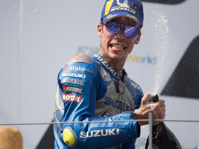 SPIELBERG, AUSTRIA - AUGUST 16: Joan Mir of Spain and Team Suzuki ECSTAR celebrates the second place on the podium at the end of the MotoGP race during the MotoGP Of Austria - Race at Red Bull Ring on August 16, 2020 in Spielberg, Austria. (Photo by Mirco Lazzari gp/Getty Images)