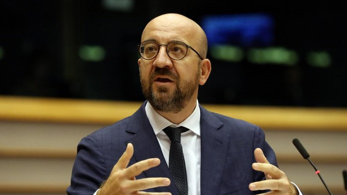 European Council President Charles Michel delivers a speech during a plenary session on the conclusions of the extraordinary European Council meeting at the European Parliament in Brussels, on July 23, 2020. - EU leaders emerged from a marathon four-day and four-night summit on July 21, 2020 to celebrate what they boasted was a historic rescue plan for economies left shattered by the coronavirus epidemic. (Photo by Franois WALSCHAERTS / various sources / AFP)