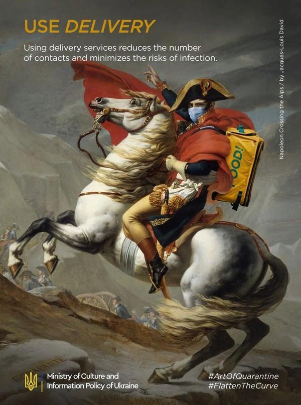 Bahkan potret kejayaan Napolean berubah menjadi imbauan pesan antar. (Kementerian Budaya dan Informasi Ukraina)