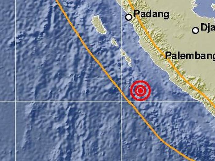 Pusat gempa bumi yang mengguncang Bengkulu pagi ini.