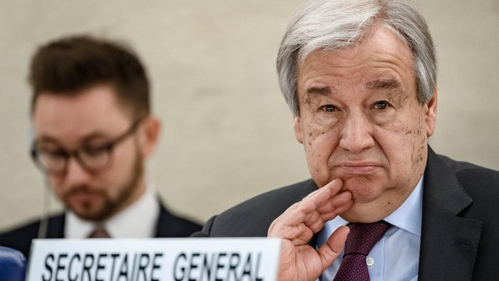 UN Secretary-General Antonio Guterres looks on during the opening of the UN Human Rights Councils main annual session on February 24, 2020 in Geneva. - The UNs secretary general launched a