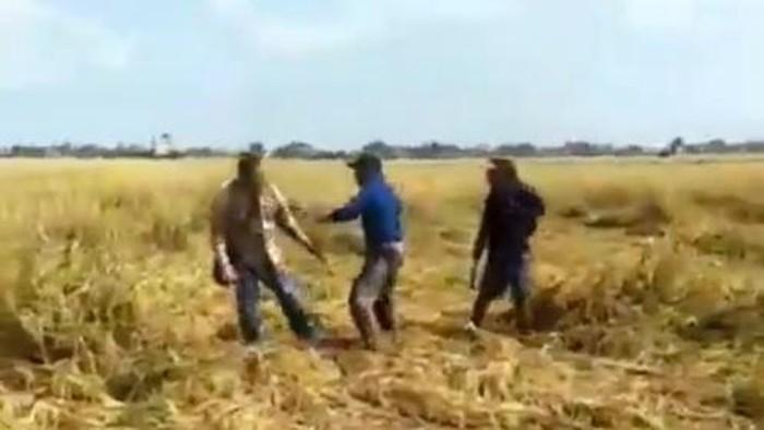 Tangkapan layar video pengeroyokan pengacara oleh 2 pria di Sidrap, Sulsel (Hermawan-detikcom).