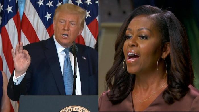 Mantan Ibu Negara AS, Michelle Obama menyebut Donald Trump adalah presiden yang salah untuk Amerika Serikat (AS). Menjawab kritikan itu, Trump justru menyinggung suami Michelle, Barack Obama.