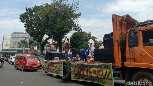 Massa peringatan Tahun Baru Islam di Medan membubarkan diri.