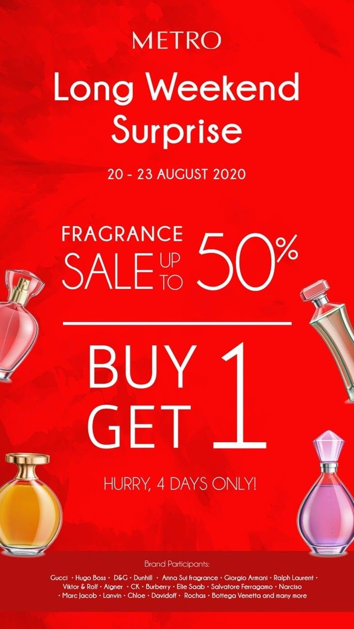 Promo sale diskon hingga 50% dan pembelian buy 1 get 1 parfum bisa kamu dapatkan di Metro Department Store.