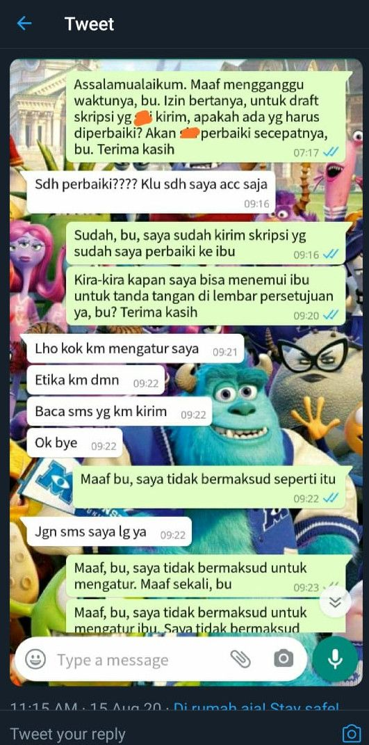 Tangkapan layar medsos chat dosen 'Kok kamu atur saya', Kamis (20/8/2020).