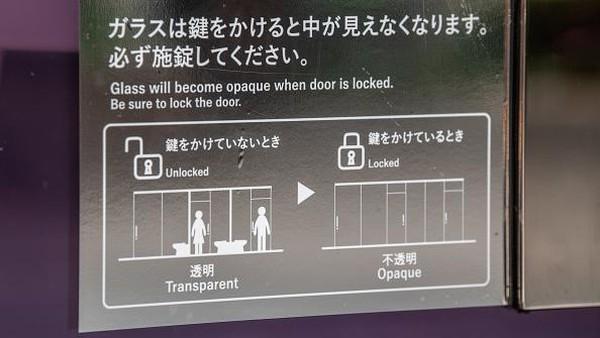 Meski didesain tembus pandang, kaca yang digunakan untuk bilik toilet tersebut dapat dibuat buram saat pintu toilet tersebut terkunci sehingga para penggunanya tak perlu takut dapat dilihat orang lain saat sedang menggunakan toilet tersebut.