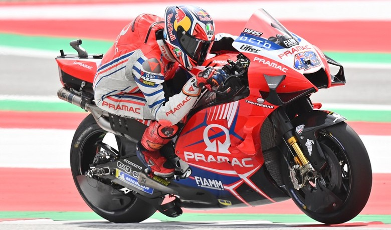 Pramac Racing Australian rider Jack Miller rides his bike during the last training round of the Moto GP Austrian Grand Prix at the Red Bull Ring circuit in Spielberg, Austria on August 15, 2020. (Photo by JOE KLAMAR / AFP)