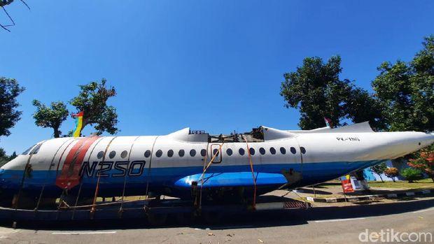 Pesawat N250 Gatotkaca karya Habibie tiba di Museum Dirgantara TNI AU Yogyakarta