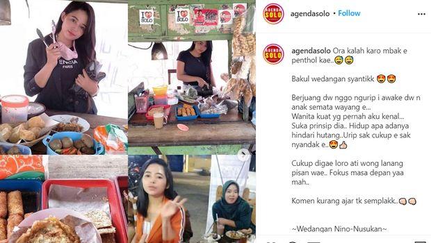 Sosok Dewi Novita (27), penjual angkringan cantik yang viral dari Solo (tangkapan layar IG @agendasolo)