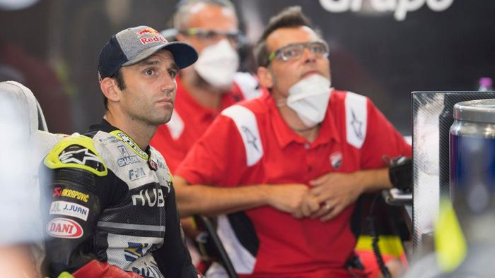 SPIELBERG, AUSTRIA - AUGUST 14: Johann Zarco of France and Reale Avintia Racing looks on in box during the MotoGP Of Austria - Free Practice at Red Bull Ring on August 14, 2020 in Spielberg, Austria. (Photo by Mirco Lazzari gp/Getty Images)