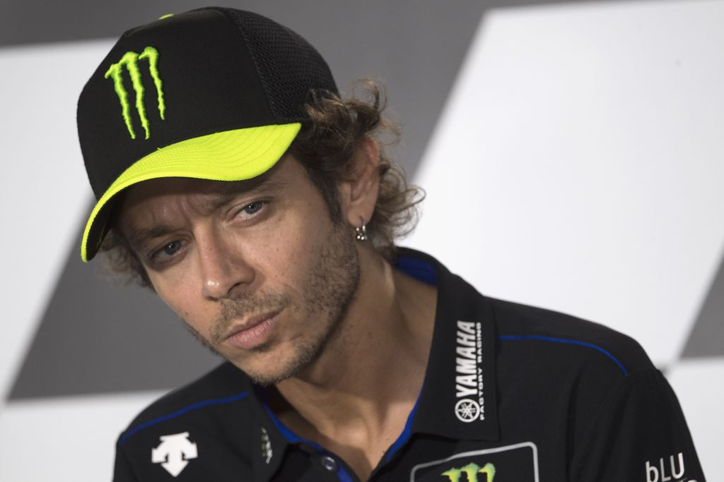 SPIELBERG, AUSTRIA - AUGUST 20: Valentino Rossi of Italy and Monster Energy Yamaha MotoGP Team looks on during the press conference pre event during the MotoGP Of Styria - Previews at Red Bull Ring on August 20, 2020 in Spielberg, Austria. (Photo by Mirco Lazzari gp/Getty Images)