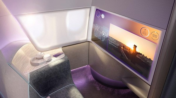 PriestmanGoode juga mendesain agar kursi penumpang memiliki ruang pribadi yang lebih. Kelas bisnis masih tetap mendapatkan televisi dan terkoneksi dengan telepon genggam penumpang. (dok. PriestmanGoode)