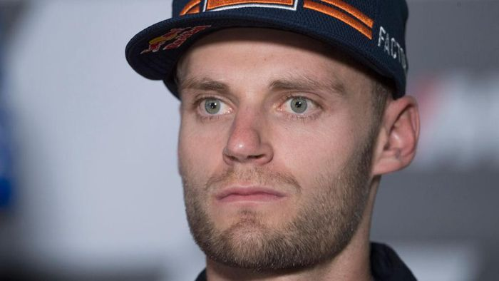 SPIELBERG, AUSTRIA - AUGUST 20: Brad Binder of South Africa and Red Bull KTM Factory Racing looks on during the press conference pre event during the MotoGP Of Styria - Previews at Red Bull Ring on August 20, 2020 in Spielberg, Austria. (Photo by Mirco Lazzari gp/Getty Images)