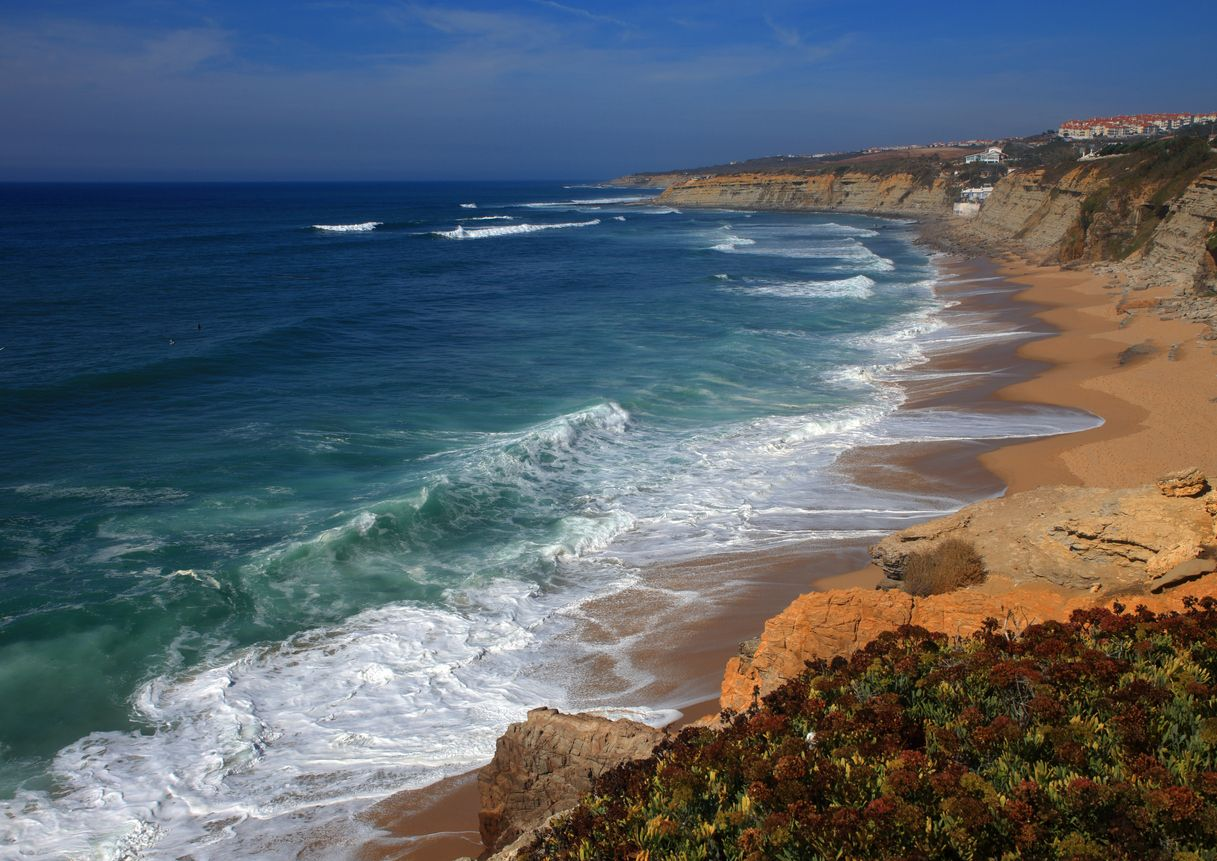 Panoramic clifftop view of Ericeira, the popular surf and beach destination on the West Coast of Portugal near Lisbon.