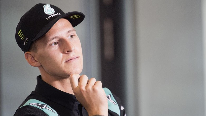 SPIELBERG, AUSTRIA - AUGUST 15:  Fabio Quartararo of France and Petronas Yamaha SRT looks on during the press conference at the end of the qualifying practice during the MotoGP Of Austria - Qualifying at Red Bull Ring on August 15, 2020 in Spielberg, Austria. (Photo by Mirco Lazzari gp/Getty Images)
