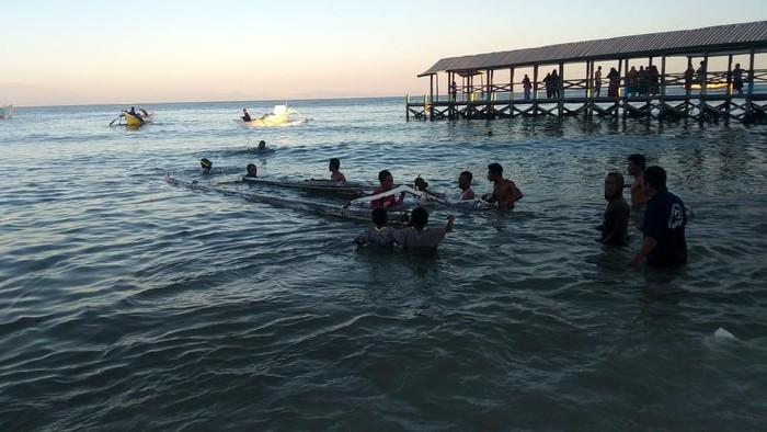 Kondisi setelah kapal nelayan di Makassar ditenggelamkan Dit Polair Polda Sulsel (dok. LBH Makassar).