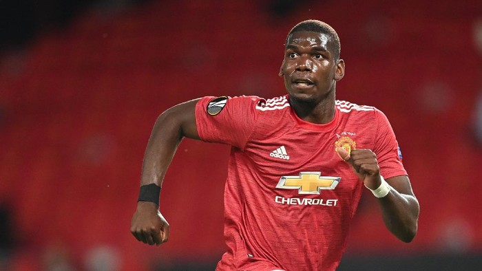MANCHESTER, ENGLAND - AUGUST 05: Paul Pogba of Manchester United in action during the UEFA Europa League round of 16 second leg match between Manchester United and LASK at Old Trafford on August 05, 2020 in Manchester, England. (Photo by Michael Regan/Getty Images)