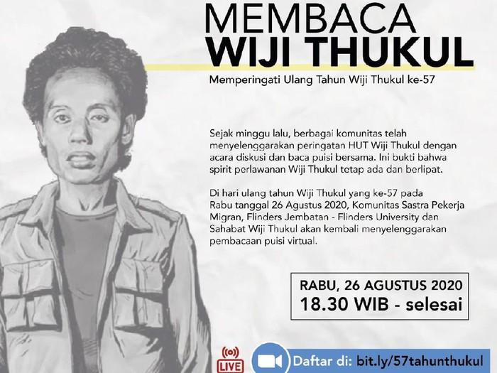 Pembacaan puisi Wiji Thukul secara virtual malam ini, Rabu (26/8/2020).