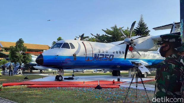 Peresmian pesawat N250 Gatotkaca di Museum Pusat TNI AU Dirgantara (Muspusdirla) DIY, Rabu (26/8/2020).