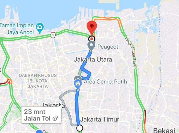 Tangkap layar Google Maps usulan jalur sepeda di Tol Cawang-Tanjung Priok. Jalur ini akan digunakan untuk road bike.