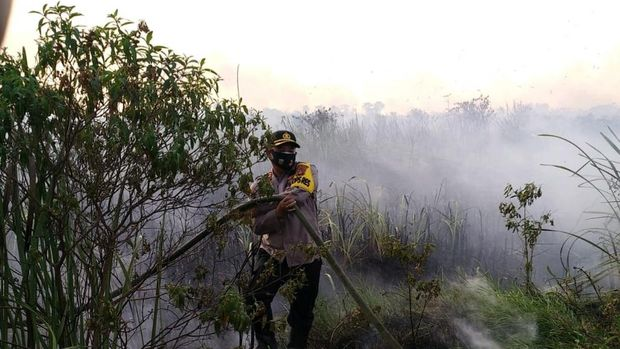 Petugas gabungan terlibat pemadaman lahan terbakar di dekat tol Palembang-Indralaya (Palindra) di daerah Ogan Ilir, Sumsel (dok Istimewa)