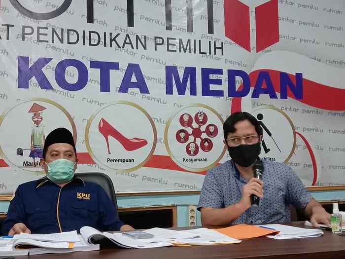 Konferensi Pers di KPU Medan (Ahmad Arfah-detikcom)