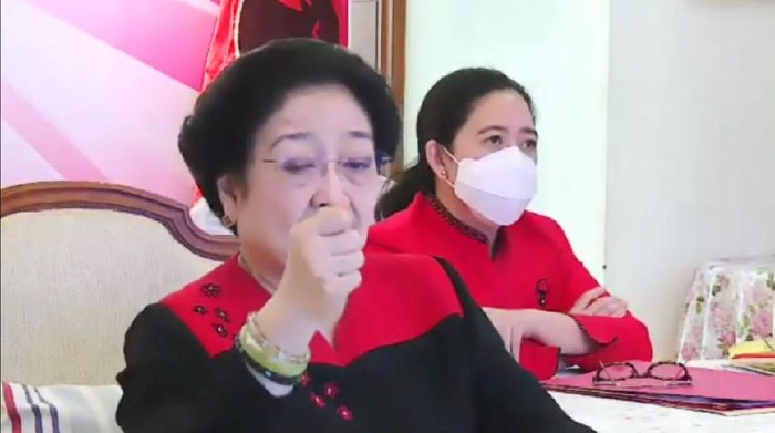Megawati dan Puan saat webinar PDIP