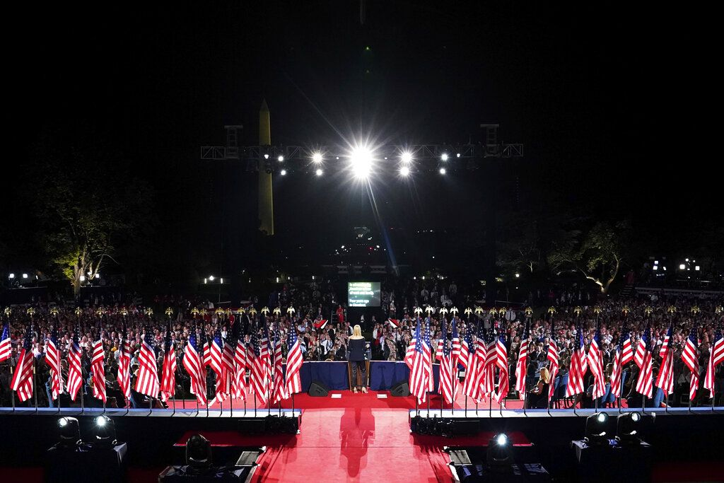 Ivanka Trump speaks to introduce President Donald Trump from the South Lawn of the White House on the fourth day of the Republican National Convention, Thursday, Aug. 27, 2020, in Washington. (Doug Mills/The New York Times via AP, Pool)