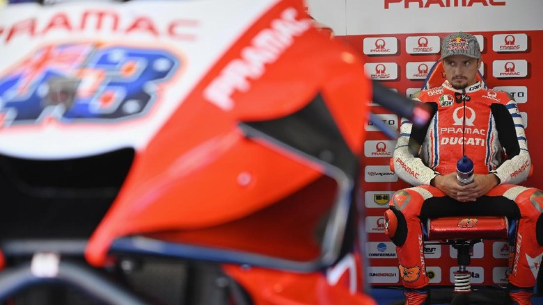 SPIELBERG, AUSTRIA - AUGUST 21:  Jack Miller of Australia and Pramac Racing looks on in box during the MotoGP Of Styria - Free Practice at Red Bull Ring on August 21, 2020 in Spielberg, Austria. (Photo by Mirco Lazzari gp/Getty Images)