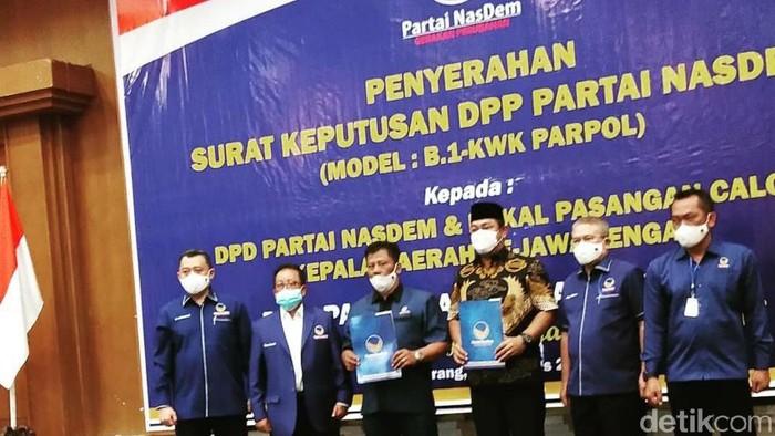 Partai NasDem memberikan rekomendasi kepada 14 pasangan calon kepala daerah untuk Pilkada serentak 2020 di Jawa Tengah, Jumat (28/8/2020).