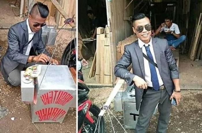 penjual makanan pakai jas