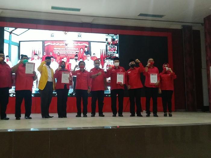 Penyerahan rekomendasi pilkada Wonogiri dan Klaten di kantor DPD PDIP Jateng, Semarang, Jumat (28/8/2020).